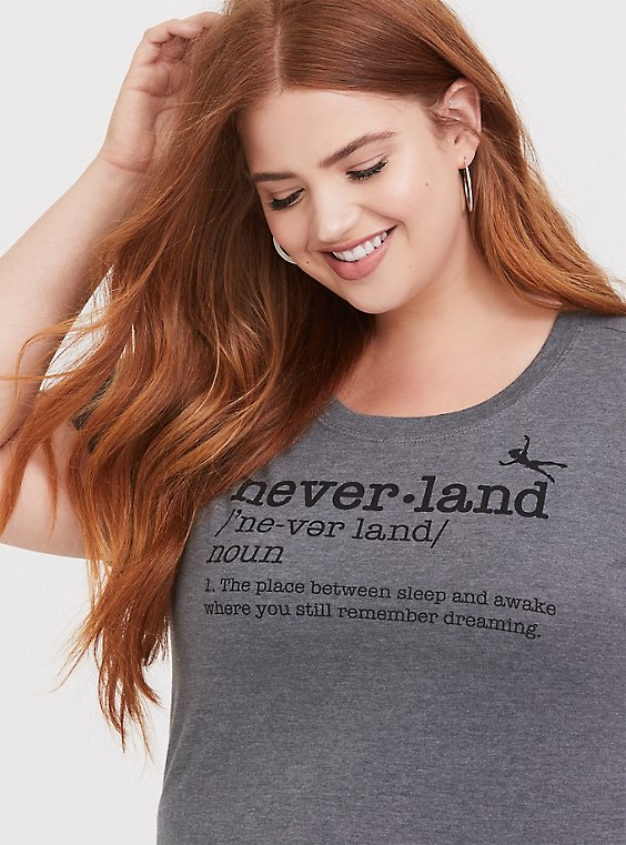 Plus Size Disney Peter Pan Never Land Grey Slim Fit Crew Tee, , hi-res
