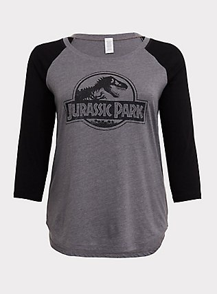 Plus Size Jurassic Park Grey & Black Raglan Tee, MEDIUM HEATHER GREY, flat