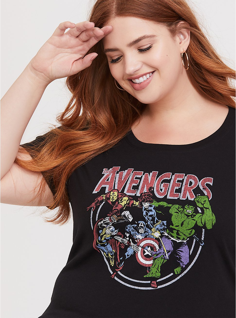 The Avengers Black Slim Fit Crew Top, DEEP BLACK, hi-res