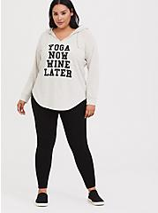 Plus Size Ivory Yoga Now Wine Later Tunic Hoodie, MEDIUM HEATHER GREY, alternate