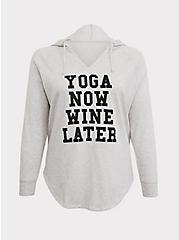 Plus Size Ivory Yoga Now Wine Later Tunic Hoodie, MEDIUM HEATHER GREY, hi-res