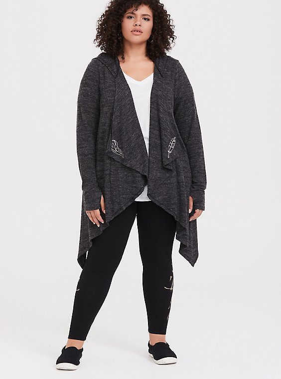 Her Universe Disney Maleficent 2 Grey Feather Drape Cardigan, , hi-res