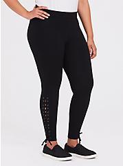 Black Lace-Up Legging, BLACK, alternate