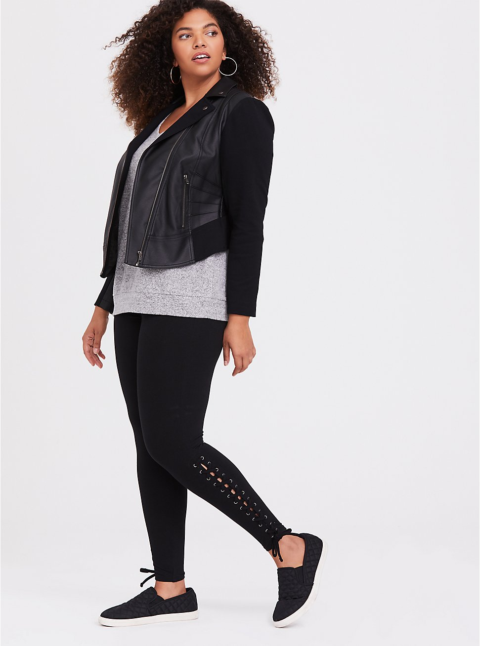 Black Lace-Up Legging, BLACK, hi-res