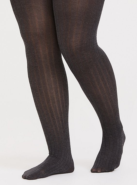 Dark Grey Rib Tights , , hi-res