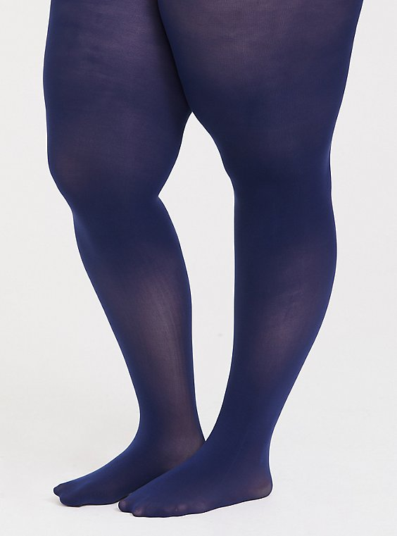 Navy Microfiber Tights, , hi-res