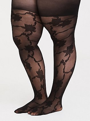 Plus Size Black Allover Floral & Vine Tights, BLACK, hi-res