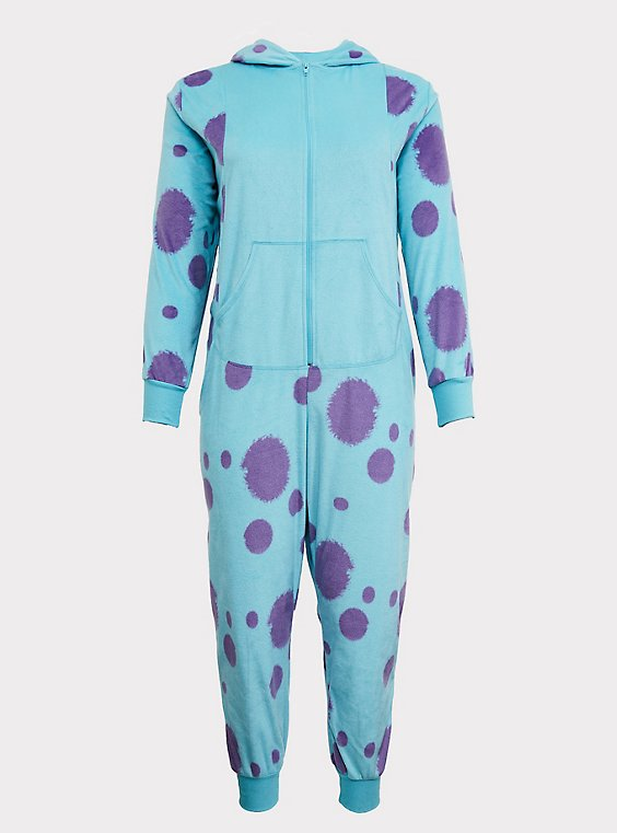 Plus Size Disney Pixar Monsters Inc Sulley Aqua Fleece Onesie Torrid