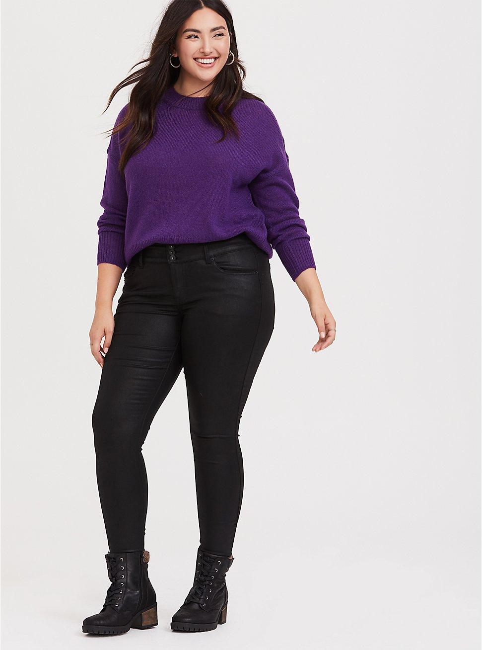 Plus Size Neon Purple Drop Shoulder Crop Pullover Sweater, BRIGHT GRAPE, hi-res
