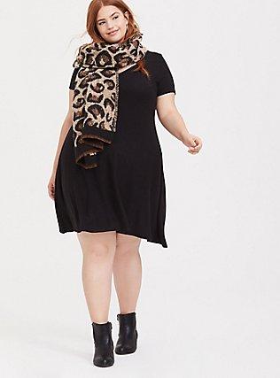 Super Soft Plush Black V-Neck Skater Dress, DEEP BLACK, alternate