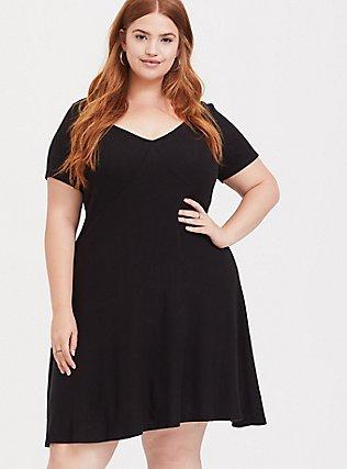 Super Soft Plush Black V-Neck Skater Dress, DEEP BLACK, hi-res