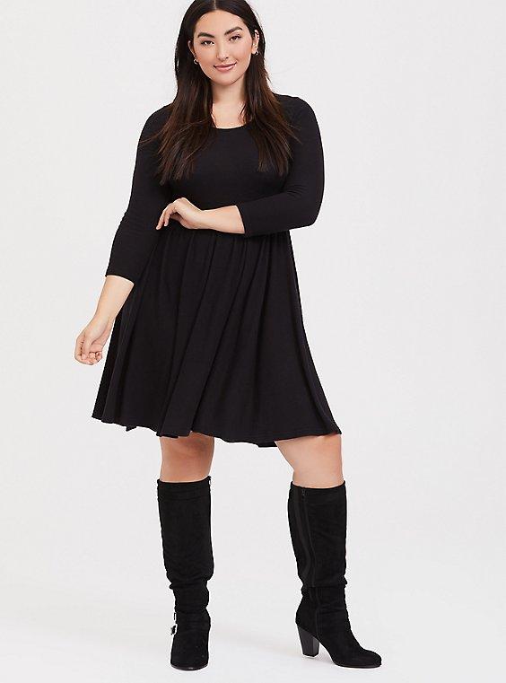 Plus Size Super Soft Plush Black Skater Dress, , hi-res