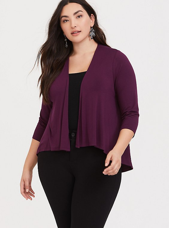 Super Soft Burgundy Purple Crop Cardigan, , hi-res