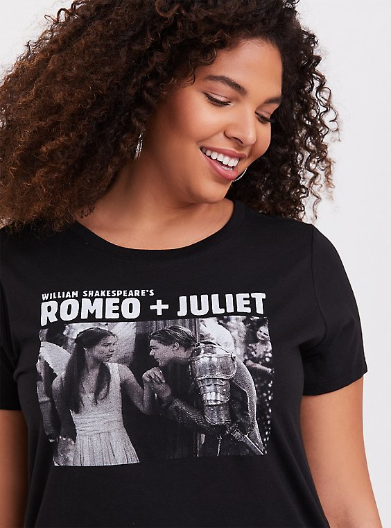 Romeo + Juliet Black Slim Fit Crew Tee, , hi-res