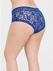 Plus Size Sapphire Blue Lacey Cheeky Panty, LIMOGES, alternate