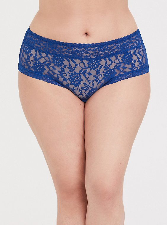 Plus Size Sapphire Blue Lacey Cheeky Panty, , hi-res