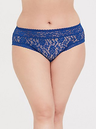 Plus Size Sapphire Blue Lacey Hipster Panty, LIMOGES BLUE, hi-res