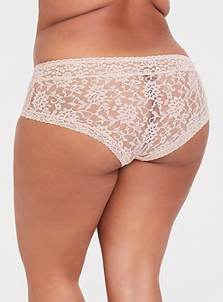 Beige Lacey Cheeky Panty, ROSE DUST, alternate