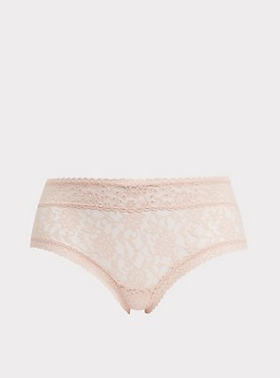 Beige Lacey Cheeky Panty, ROSE DUST, flat