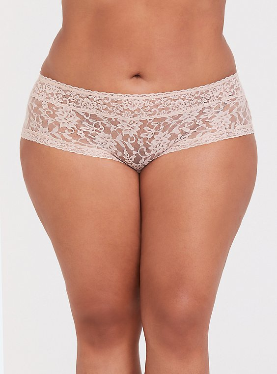 Plus Size Beige Lacey Cheeky Panty, , hi-res