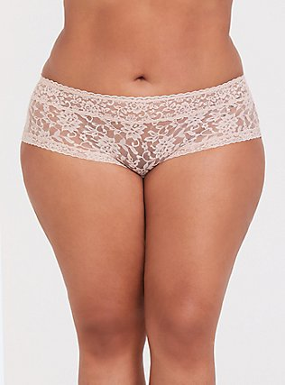 Beige Wide Lace Cheeky Panty, ROSE DUST, hi-res