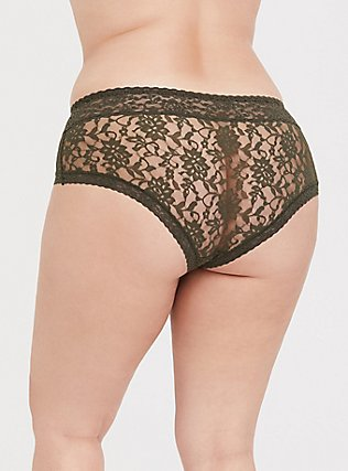 Olive Green Lacey Cheeky Panty, DEEP DEPTHS, alternate