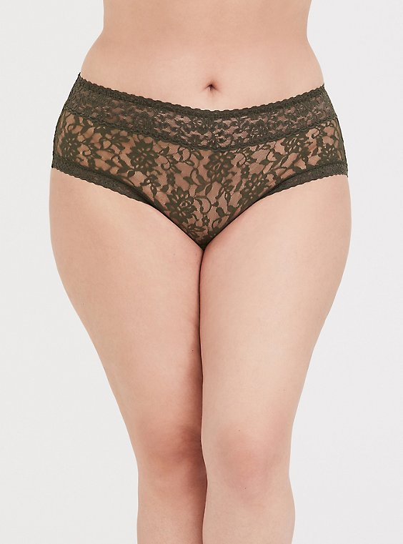 Plus Size Olive Green Lacey Cheeky Panty, , hi-res
