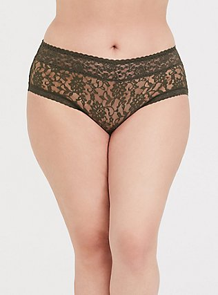 Olive Green Lacey Cheeky Panty, DEEP DEPTHS, hi-res