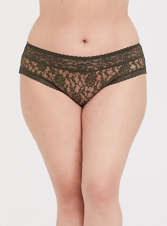 Olive Green Lacey Hipster Panty, , hi-res