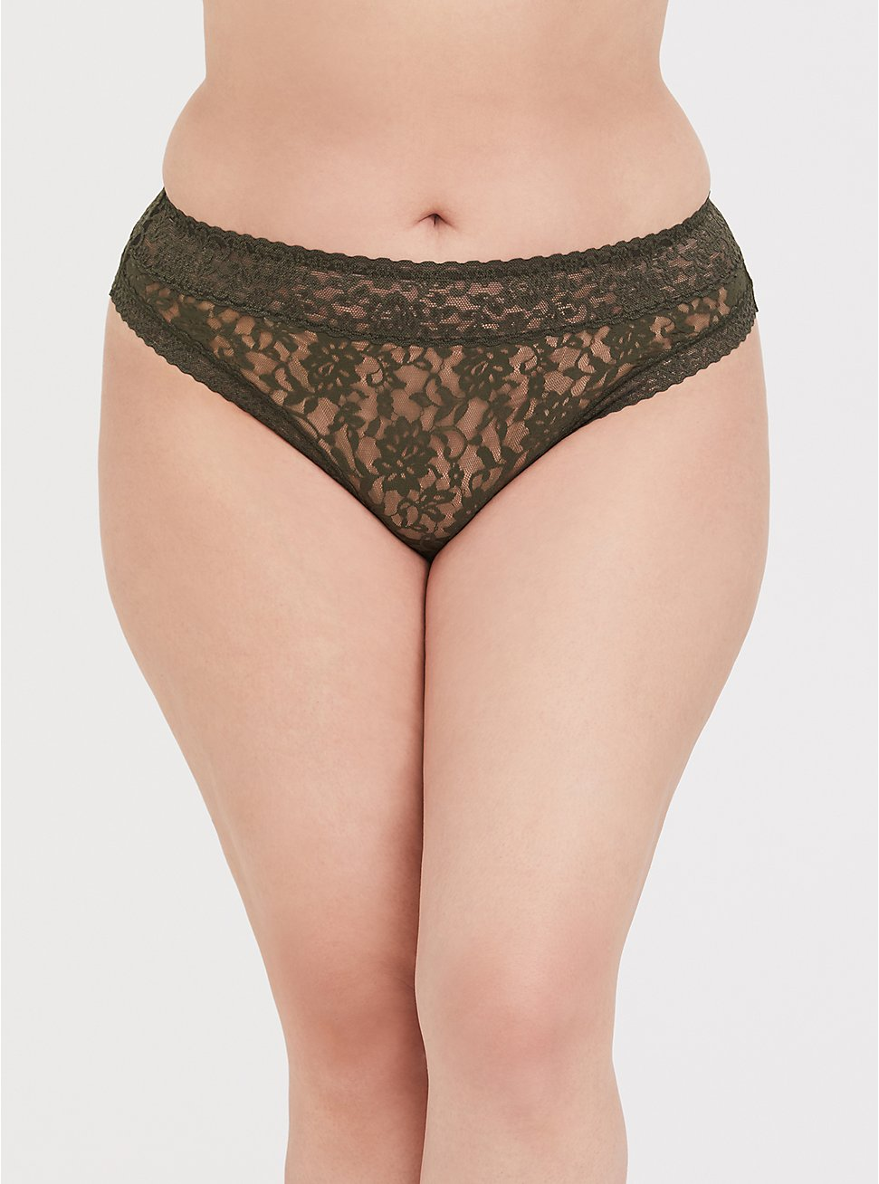 Plus Size Olive Green Lacey Thong Panty, DEEP DEPTHS, hi-res
