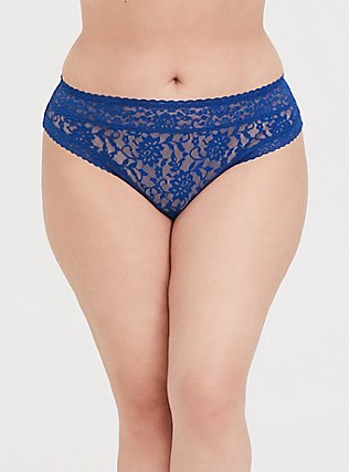 Plus Size Sapphire Blue Lacey Thong Panty, LIMOGES BLUE, hi-res