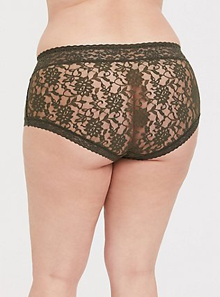 Plus Size Olive Green Lacey Brief Panty, DEEP DEPTHS, alternate