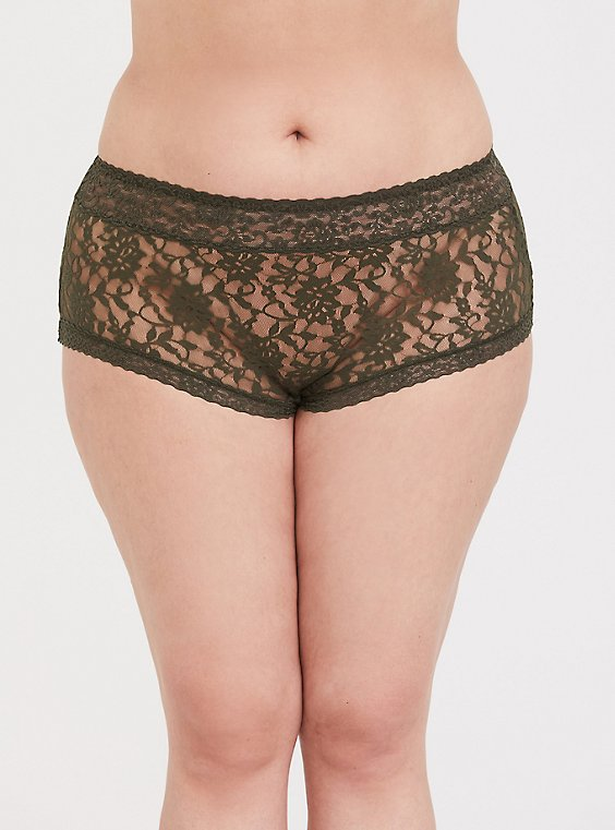 Plus Size Olive Green Lacey Brief Panty, , hi-res