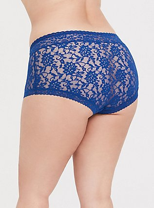 Plus Size Sapphire Blue Lacey Brief Panty, LIMOGES BLUE, alternate