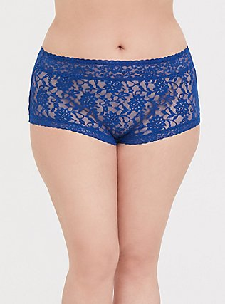 Plus Size Sapphire Blue Lacey Brief Panty, LIMOGES BLUE, hi-res