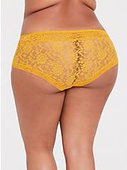 Plus Size Mustard Yellow Lacey Cheeky Panty, MINERAL YELLOW, alternate