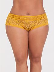 Plus Size Mustard Yellow Lacey Cheeky Panty, MINERAL YELLOW, hi-res