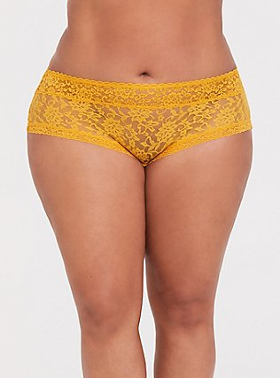 Mustard Yellow Lacey Cheeky Panty, MINERAL YELLOW, hi-res