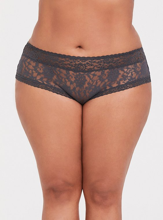 Plus Size Dark Grey Lacey Cheeky Panty, , hi-res
