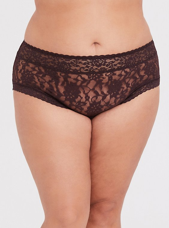 Plus Size Raisin Brown Lacey Cheeky Panty, , hi-res