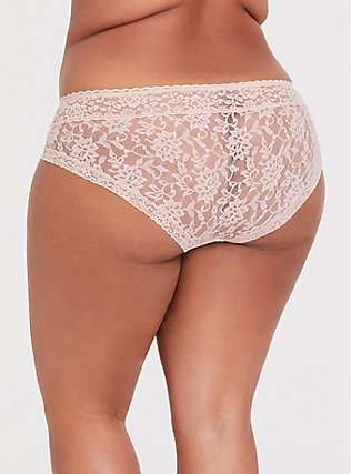 Beige Lacey Hipster Panty, ROSE DUST, alternate
