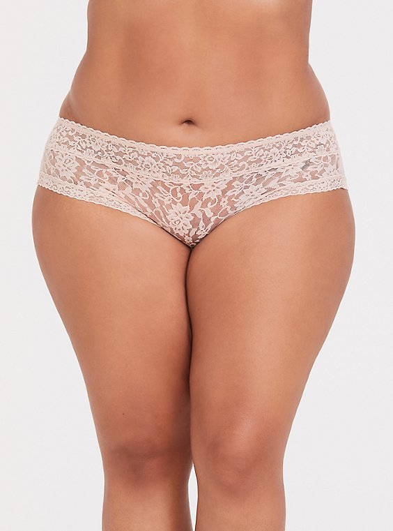 Plus Size Beige Lacey Hipster Panty, , hi-res
