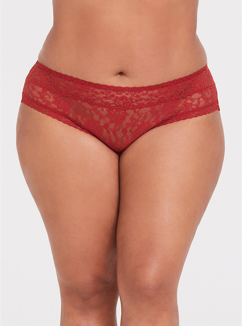 Plus Size Rust Orange Lacey Hipster Panty, BOSSANOVA-RUST, hi-res
