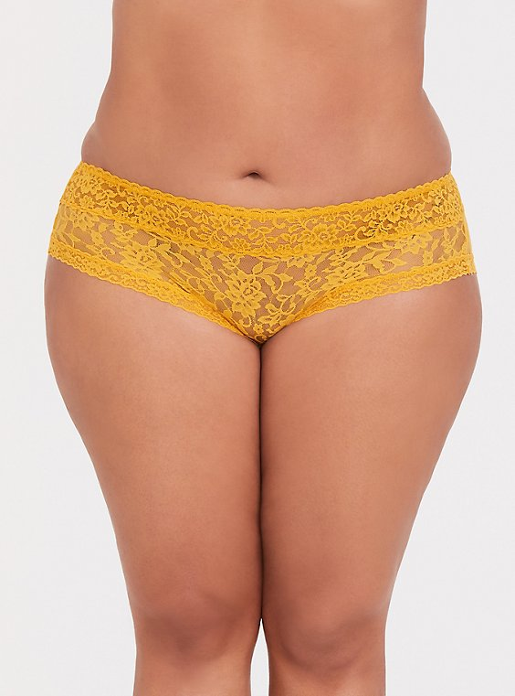 Plus Size Mustard Yellow Lacey Hipster Panty, , hi-res