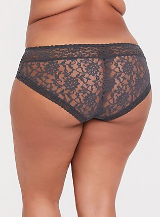 Plus Size Dark Grey Lacey Hipster Panty, MAGNET, alternate