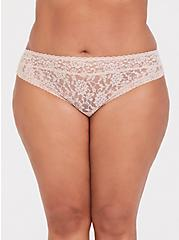 Beige Lacey Thong Panty, ROSE DUST, hi-res