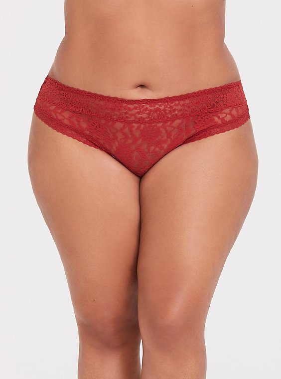 Rust Orange Lacey Thong Panty, , hi-res