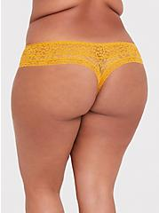 Plus Size Mustard Yellow Lacey Thong Panty, MINERAL YELLOW, alternate