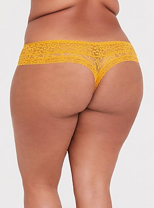 Mustard Yellow Lacey Thong Panty, MINERAL YELLOW, alternate