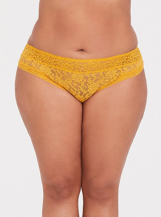 Plus Size Mustard Yellow Lacey Thong Panty, , hi-res